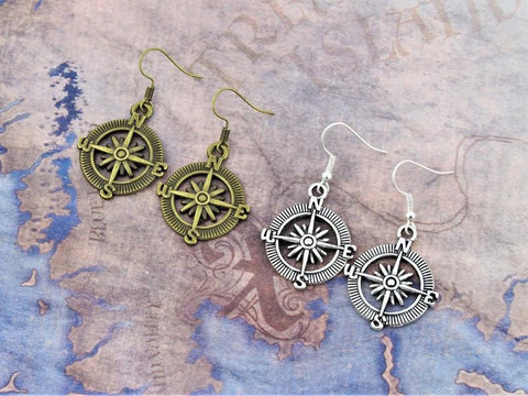 Compass Earrings, Travel Jewellery, Travel Gift