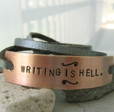 Writing is Hell Bracelet, Writing Bracelet, Leather Wrap, writers gift, author's gift, novelist gift, playwright gift, gifts for writers