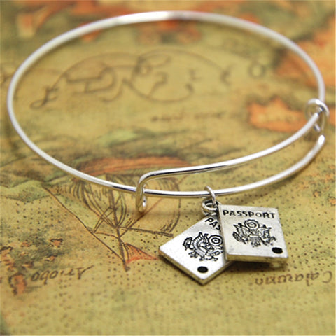 Travel Charm Bracelet with Passport Charms