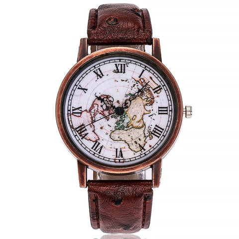 Antique Style World Map Explorer Watch with Roman Numerals