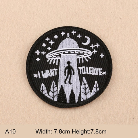 I Want To Leave Round UFO Embroidered Patches