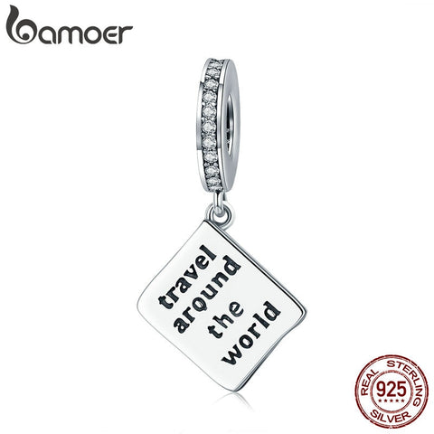 Genuine Sterling Silver Travel Around World Passport Engrave Charm fit Bracelet & Necklace Jewellery