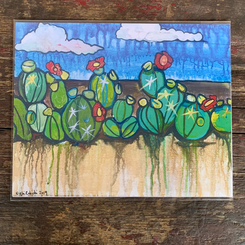 8x10 print- Watercolor Prickly Pear