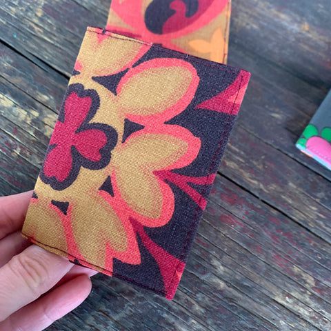 Psychedelic flower print handmade vintage fabric wallet