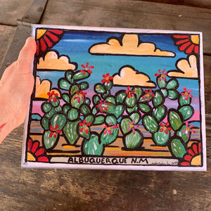 Wood Mounted- 8x10 Albuquerque NM Cacti