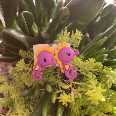 Purple Seahorse stud Earrings-