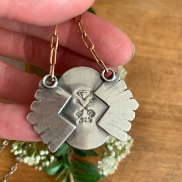 White Buffalo and Silver Shield pendant necklace