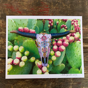 8x10 print- Church Street prickly pear and ram skull