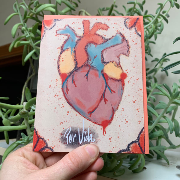 Por Vida Valentines Anatomical Heart card