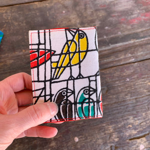 Geometric yellow bird handmade vintage fabric wallet