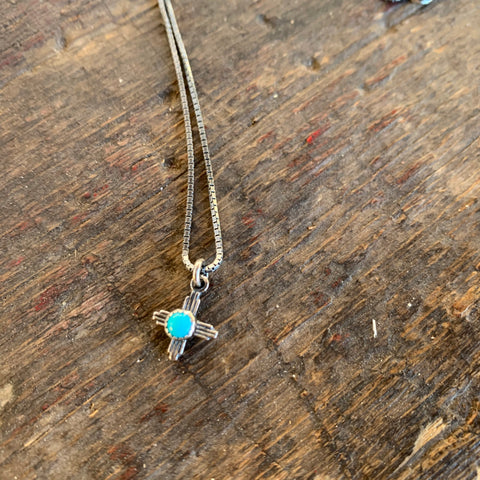 Zia  Necklace Dainty turquoise and silver 18""