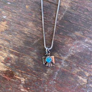 Thunderbird Necklace Dainty turquoise and silver 18""