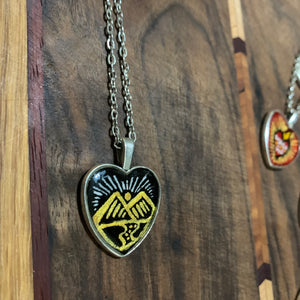 Golden Mountains on Black Handpainted painted heart charm w choice of zodiac sign