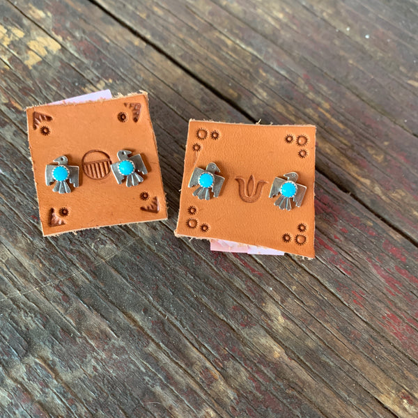 Peace bird silver and turquoise studs