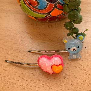 Hairpins-blue bear and pink heart