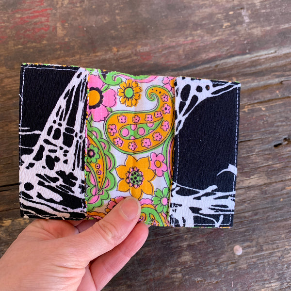 Black and white handmade vintage fabric wallet