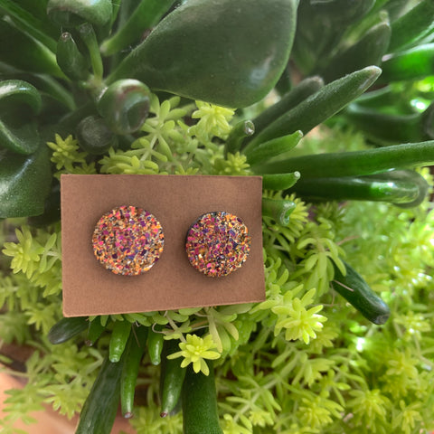 Faux Druzy Earrings- silvery