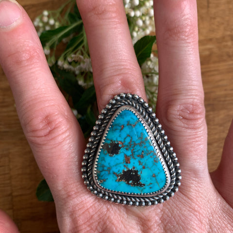 Size 8 Triangle Kingman Turquoise and Silver Ring