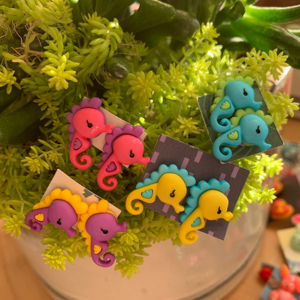 Yellow Seahorse stud Earrings-