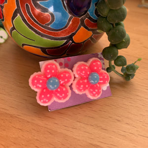 Pink and blue flower stud Earrings-