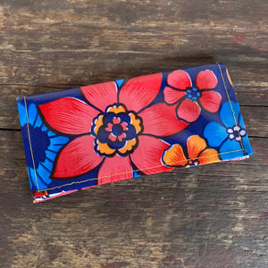 Pink flower oil cloth wallet