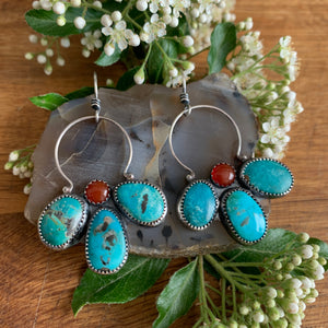 Turquoise Silver and Carnelian flower earrings