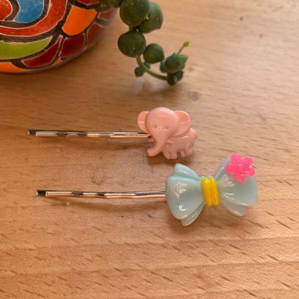 Hairpins- elephant and bow