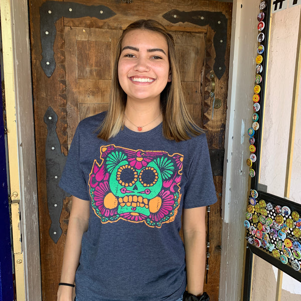 Sugar Skull Heather Navy Crew Neck Tshirt  nikkizabicki design