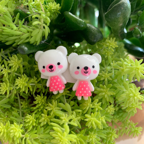 White and pink teddy bear stud Earrings-