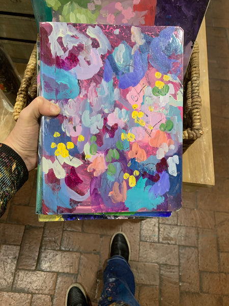 Painted Abstract flower notebooks