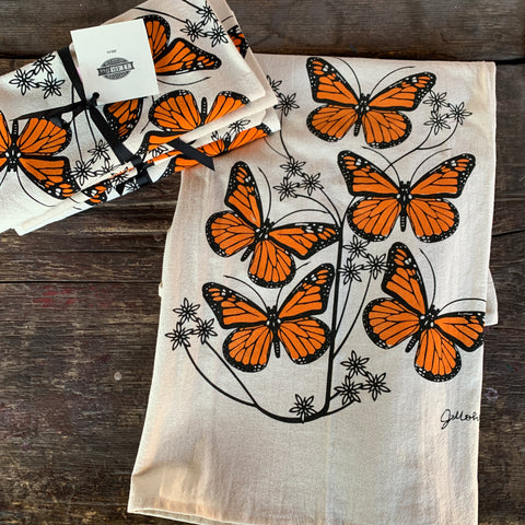 Monarch butterfly dish towel