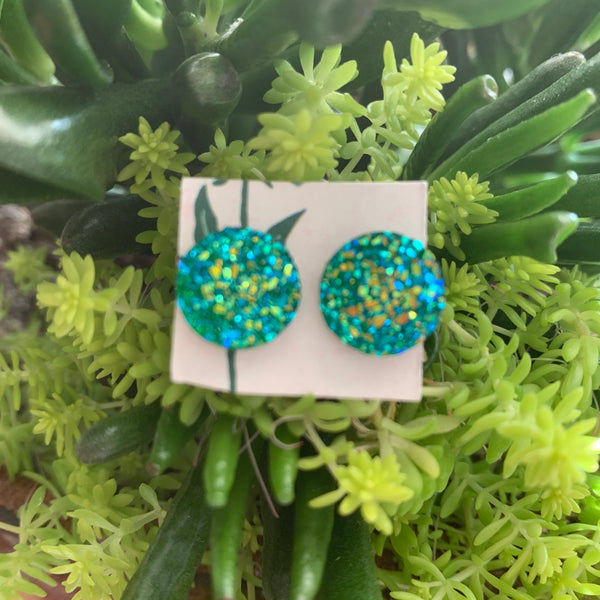 Faux Druzy Earrings- turquoise