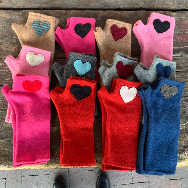 Long pink with red heart Cashmere Fingerless Gloves