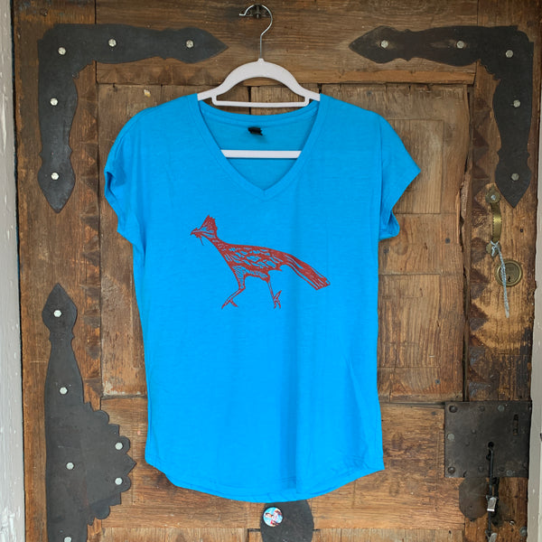 Roadrunner Turquoise Ladies V Neck Tshirt  nikkizabicki design