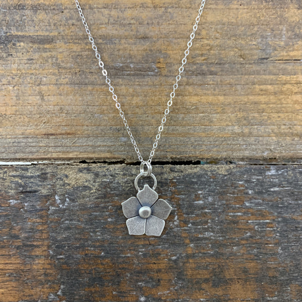 Flower Silver Charm Necklace- Alisha Williams