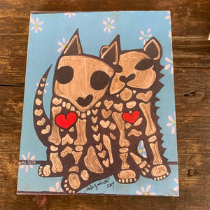 Wood Mounted- 8x10 Blue Cat and Dog