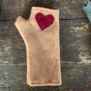 Short Beige with red heart Cashmere Fingerless Gloves