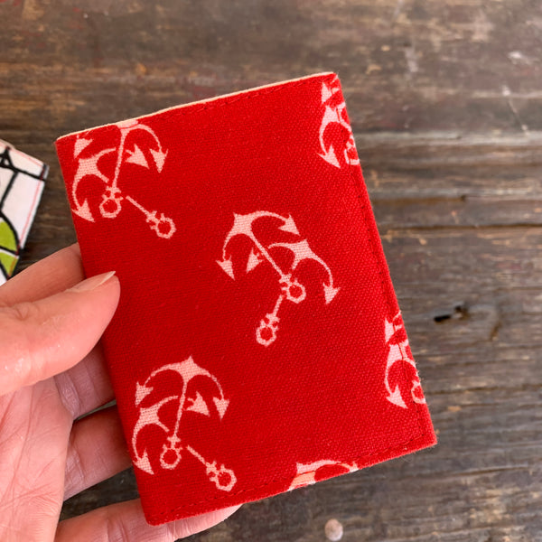 Red with white anchors handmade vintage fabric wallet