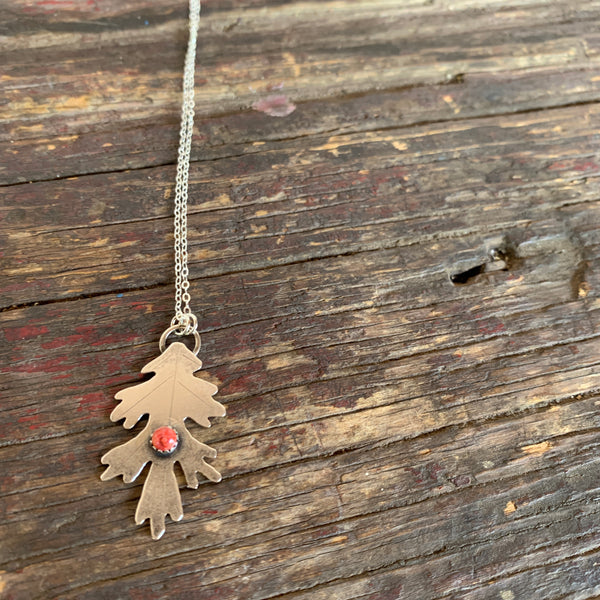 Leaf with Spiny Oyster Shell Silver Charm Necklace- Alisha Williams