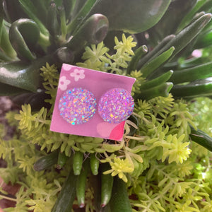 Faux Druzy Earrings- purple