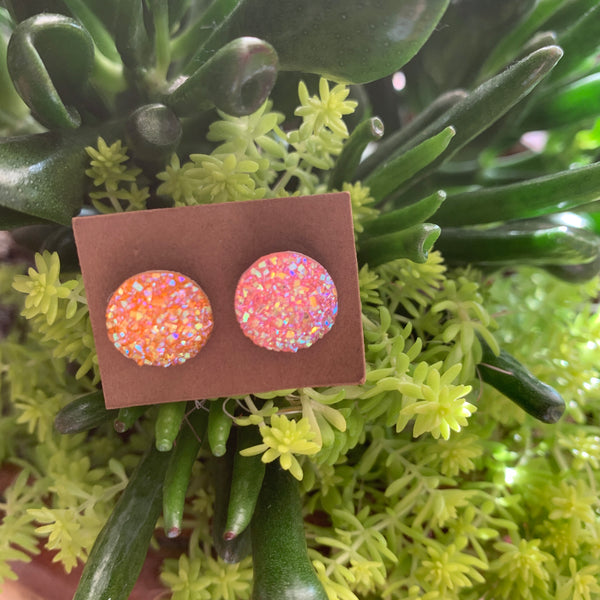 Faux Druzy Earrings- light pink