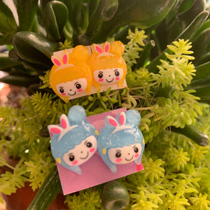 Blue Japanese Character w bunny ears stud Earrings