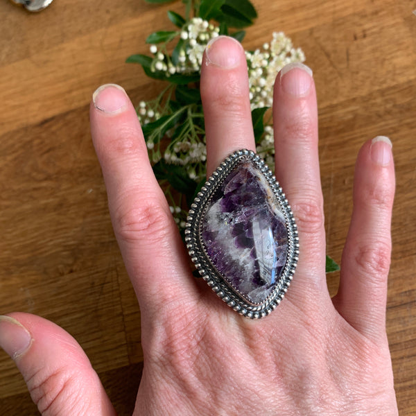Size 7.5 Giant Amethyst and Silver Ring