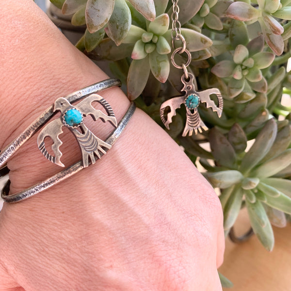 Sweet Silver Thunderbird Turquoise cuff bracelet