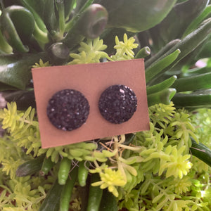 Faux Druzy Earrings- black