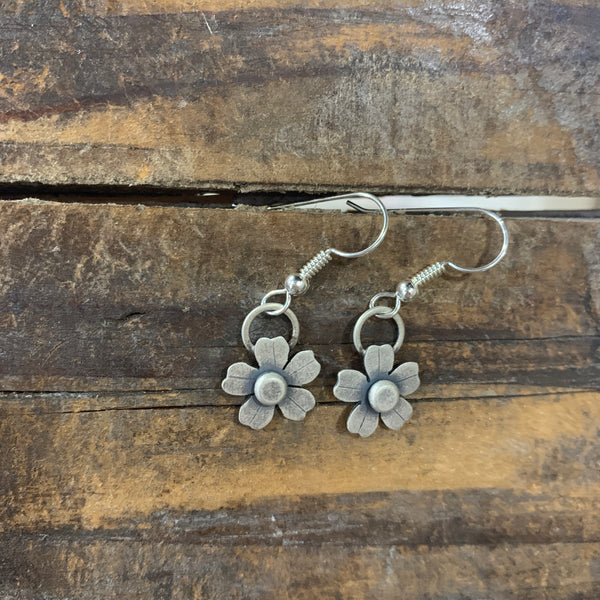 Flower Silver Charm Earrings Alisha Williams