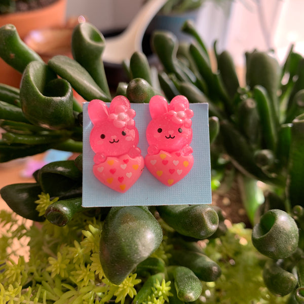 Little pink bunny with hearts stud Earrings