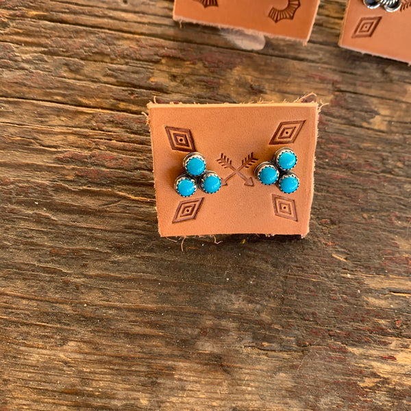 Triple Stone Turquoise Studs