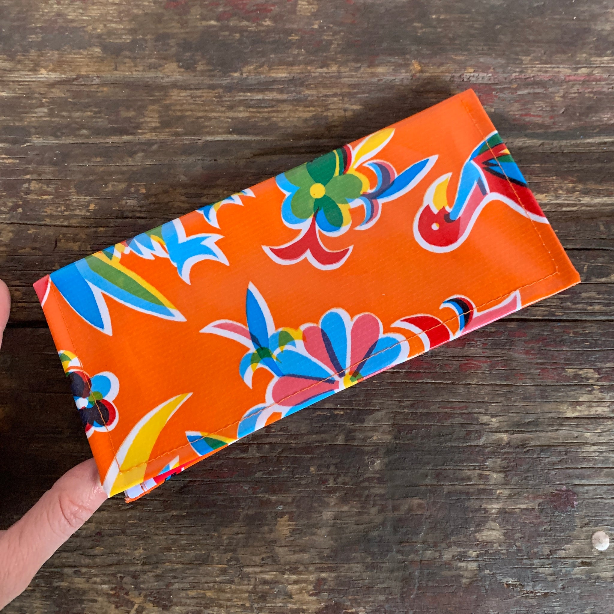 Orange Oil Cloth wallet Flamingo left