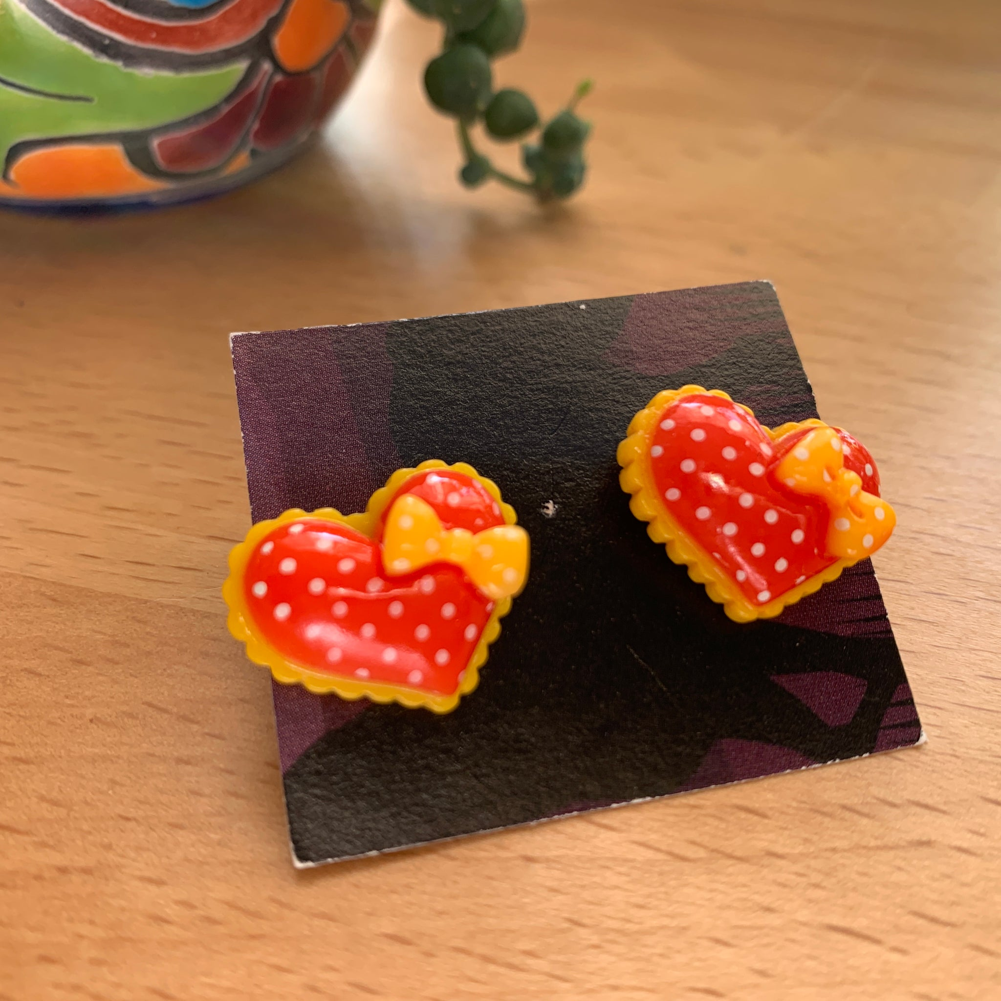 Red and yellow heart stud Earrings-
